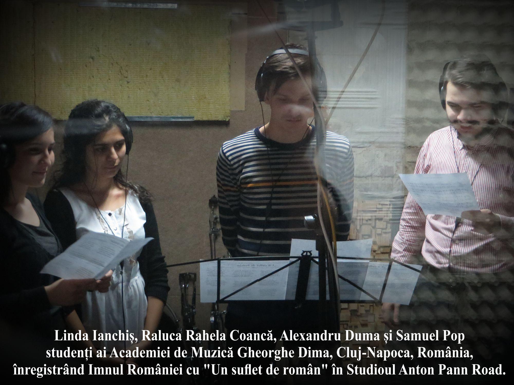 B- Linda - Rahela - Alexandru - Samuel recording Imnul National al Romaniei cu Un Suflet de Roman